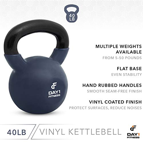 Day 1 Fitness Kettlebell Weights Vinyl Coated Iron 40 Pounds - Coated for Floor and Equipment Protection, Noise Reduction - Free Weights for Ballistic, Core, Weight Training by Day 1 Fitness (Image #3)