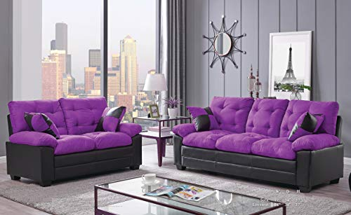 Esofastore Living Room Simple Classic Plush Cushion Sofa and Loveseat Microfiber Upholstery Furniture Couch 2pc Sofa Set Purple and Black ()