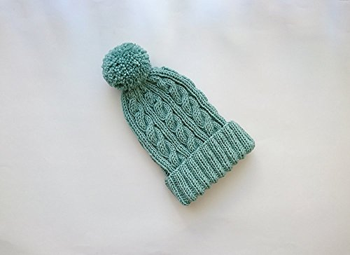 Cable Knit Hat in Mint, Hand Knit Beanie with Folded Brim, Womens Pom Pom hat, Hand Knitted Hat, Winter Accessories, Wool Blend 463 Cables