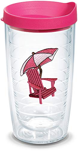 Tumbler Chair Adirondack - Tervis 1302110 Adirondack Chair - Pink Insulated Tumbler with Emblem and Fuschia Lid 16oz Clear