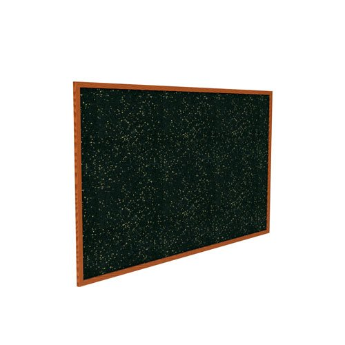 Recycled Bulletin Board Surface Color: Tan Speckled, Size: 2' H x 3' W, Frame Finish: Cherry ()