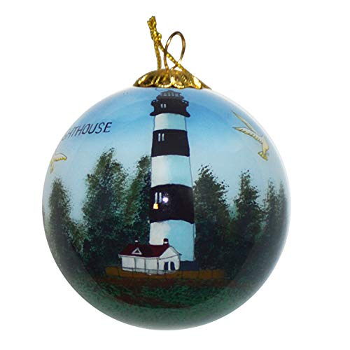 Lighthouse Bodie - Art Studio Company Hand Painted Glass Christmas Ornament - Bodie Island Lighthouse