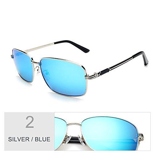 Unas Plazas Blue Metal Sol Vintage TIANLIANG04 De Plata Negro Regreso Uv400 Silver De Conducir Para Enormes Gafas Azul De Hombres Marco YxwR11qd