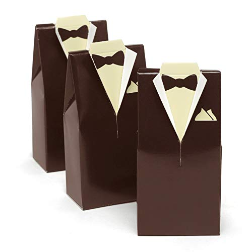 (Hortense B. Hewitt Wedding Tuxedo Shaped Favor Boxes, 4-Inch, Brown)