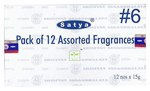 Satya Bangalore (BNG) Set of 12 Nag Champa, Red Champa, Black Champa, Champa, Super Hit, Darshan, Neem Forest, Arabian Musk, Jasmine, Gold, French Lavender, Mystic Rose Incense Sticks by Satya (Image #3)