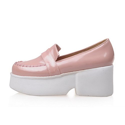 AmoonyFashion Womens Round Closed Toe Kitten-Heels Patent Leather Solid Pull-on Pumps-Shoes Pink OIzttIM