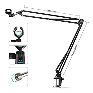 SIMBR Microphone Arm Stand, Adjustable Mic Stand Suitable for Blue Yeti Snowball with 5/8'' Threaded Screw and Other Types of Mic with 1.1'' Clip