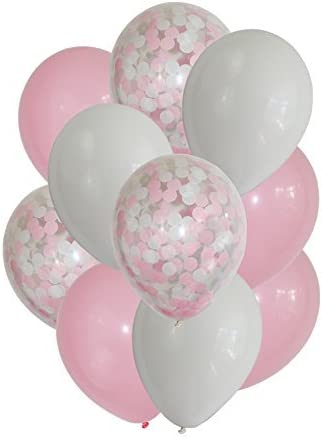 findfun 12 pink confetti balloons for girl baby shower party decoration pack of 15 pink