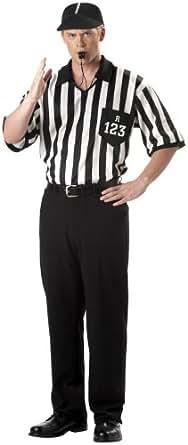 California Costumes Men's Adult-Referee Shirt, Black/White, L (42-44) Costume