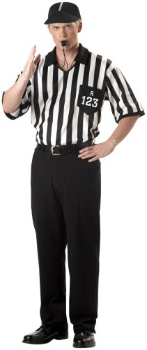 California Costumes Men's Adult-Referee Shirt, Black/White, XL (44-46) (Men's Referee Halloween Costume)
