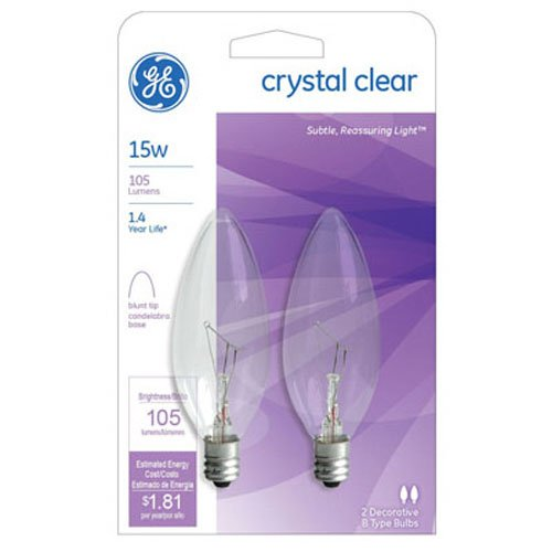 G E LIGHTING 87840 Blunt Tip Candelabra Bulb, 15W/120V, 2-Pack ()