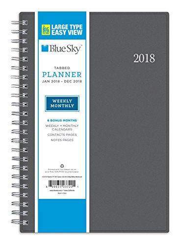 "Blue Sky 2018 Weekly & Monthly Planner, Twin-Wire Binding, 5"" x 8"", Large Print, Classic Grey"