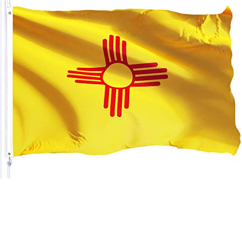 - G128 New Mexico State Flag, 3x5 feet, 150D Printed Quality Polyester, Indoor/Outdoor, Vibrant Colors, Brass Grommets, More Durable Than 75D Polyester
