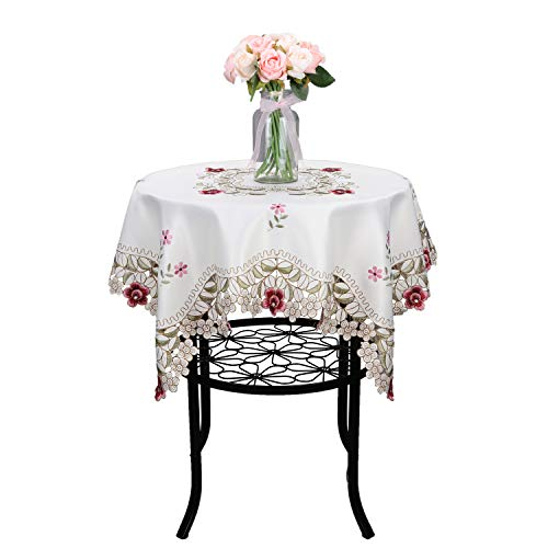 Damask Rose red Little Plum Embroidered Beige Tablecloth Round Small 32 inch Approx