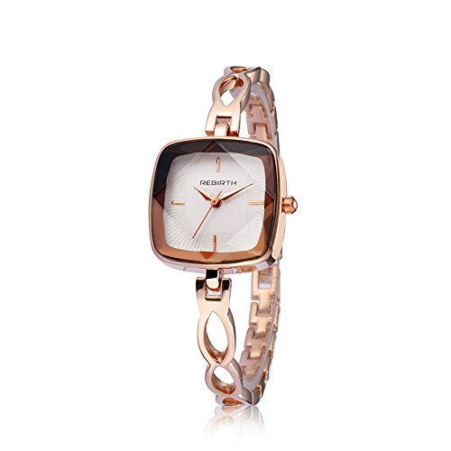 Tayhot Women's Stainless Steel Square Dial Quartz Analog Rose Gold Bracelet Strap Luxury Watch,Lady Girls Simple White Dial Slim Business Dress ()