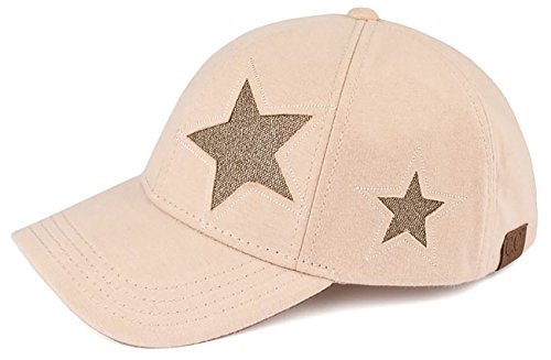 (H-206-42600 Cotton Glitter Womens Classic Baseball Cap - Star Design(Beige))
