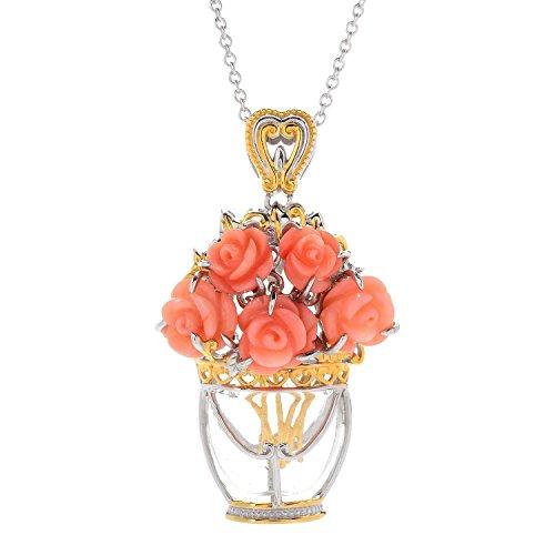 Michael Valitutti Palladium Silver Carved Pink Coral Flower & Glass Vase Bouquet Pendant (Scrollwork Vase)