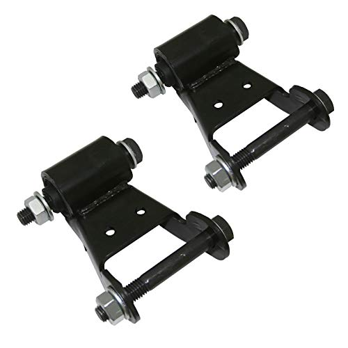 (2pc Black Leaf Spring Shackle Kit (with Bolts/Washers/Nuts) Rear Position for 1999-2007 Chevrolet Silverado 1500 2500 3500, 1995-2000 Tahoe, 1999-2007 GMC Sierra 1500 2500 3500, 1995-2000 Yukon)