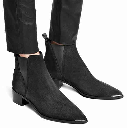 Pointue en Véritable Chaussures de Hiver Bottes Femmes Pointe EUR38UK55 Martin 2 Cuir Appartements Automne NVXIE Cuir Partie Travail qvwg8EWH