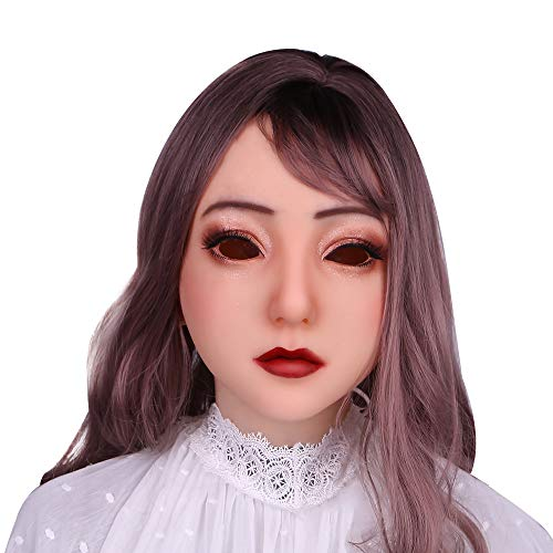 Soft Silicone Realistic Female Head Mask Handmade Face for Crossdresser Transvestite Halloween Cosplay 4G Light Beige -
