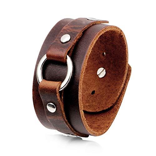 liujun Leather Bracelet for Men Women, Fashion Design Genuine Leather Cuff Bracelets, Brown Punk Style boy Girl Bracelet, Metal Press Buckle (Brown Style 6)