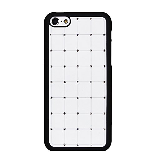 Value Pack Iphone 5c CRISTAL DE LUXE Croix Diamant Hard Case Cover Blanc Bling avec cadre noir pour Apple iPhone 5C