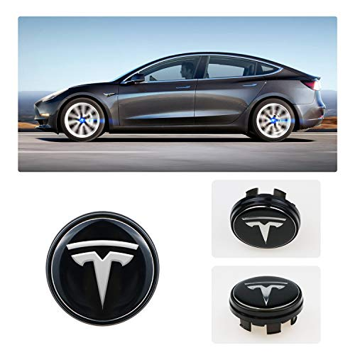 R RUIYA Tesla Model 3 S X Accessory 4PCS Wheel Logo Hub Center Caps Cover with Lights LED Car Modification Special Atmosphere Lamp (Blue) ()