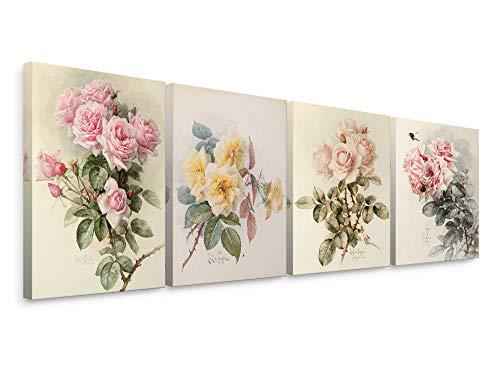 Niwo Art- Still Life Rose Combo, by Paul de Longpré Canvas Wall Art Home Decor,Framed Ready to Hang