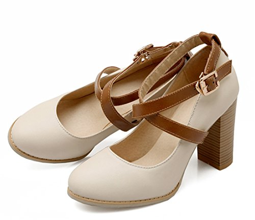 YE Damen Plateau High Heel Chunky 9CM Heels Pumps mit Riemchen Elegante Blockabsatz Schnalle Geschlossene Runde Zehe Schuhe Beige