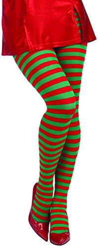 Forum Novelties Women's Adult Christmas Striped Tights, Red/Green, One -