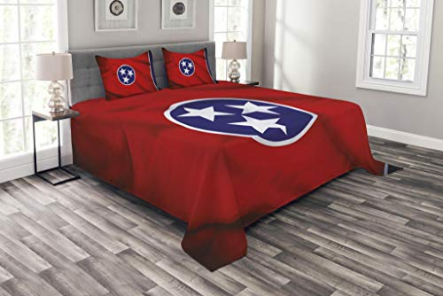 Lunarable American Coverlet Set King Size, Tennessee Flag Three Stars and Unity of The Grand Divisions Theme, Decorative Quilted 3 Piece Bedspread Set with 2 Pillow Shams, Royal Blue Red White (Unity Star)