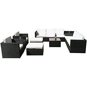 MCombo 6085 1013 Patio Sectional Indoor Outdoor Sofa Furniture Set With  Black Wicker 13 Piece Part 67