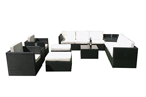 MCombo 6088-1013 13 Piece Wicker Patio Sectional Indoor/Outdoor Sofa Furniture Set, Black (Indoor Wicker Sectional)