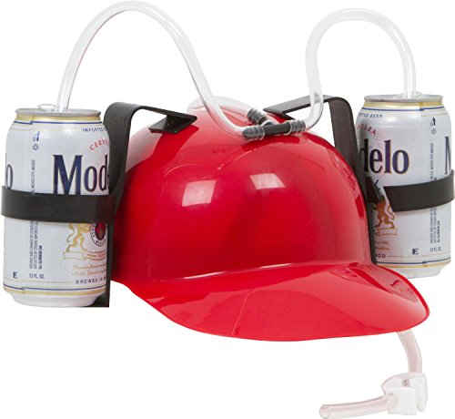 EZ DRINKER Beer & Soda Guzzler Helmet - Drinking Hat By (Red)]()