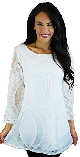 Love My Seamless Women's Ladies Missy Long Sleeve White 3/4 Sleeve Lace Top Blouse