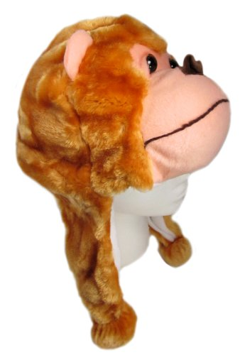 Monkey Critter Cap Plush Animal Hat with Ear Flaps That Button Under the Chin (Brown) ... (Appaman Monkey)