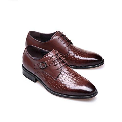 Habillées Délicat Style Marron Cuir Bout Derby Croco British Bloc Faux Soulier Pointu Chaussures Homme UqfY77