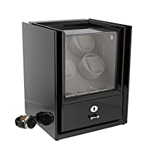 Quad Watch Winder with Storage in Black Piano Wood - Magnum Collection by Aevitas