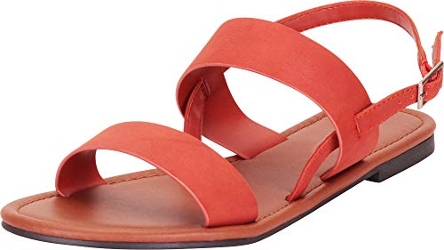 Cambridge Select Women's Classic Slingback Flat Sandal,7.5 B(M) US,Burnt Orange ()