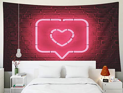 Fullentiart Art Tapestry, Wall Hanging Tapestry 80x60inch Heart Red Pin Icon Dark Brick Background Neon Symbol Render 3D Decoration Room Birthday Gift Holiday Décor Tapestries]()
