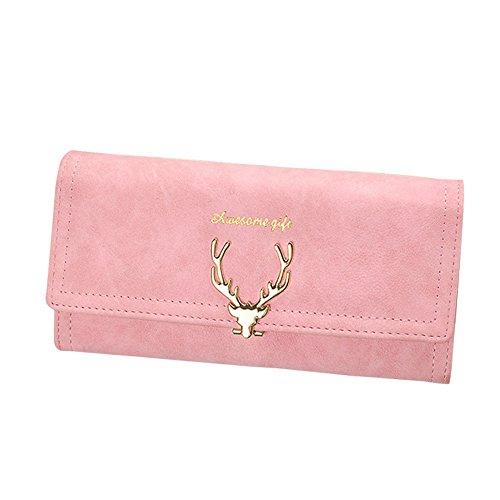 (Kukoo Women Suede Leather Long Wallet Deer Pattern Clutch Bag Credit Card Holder)