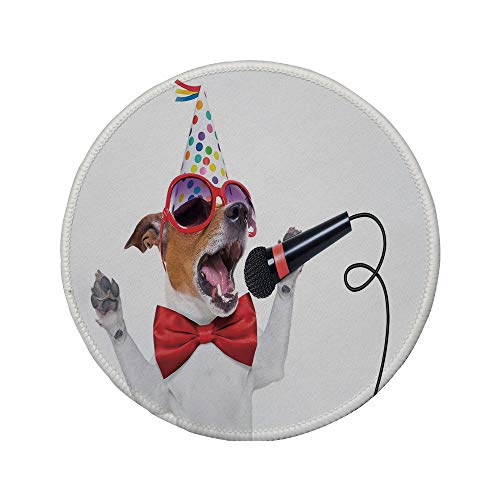 Non-Slip Rubber Round Mouse Pad,Popstar Party,Jack Russel Dog with Sunglasses Party Hat and Bowtie Singing Birthday Song Decorative,Multicolor,7.87