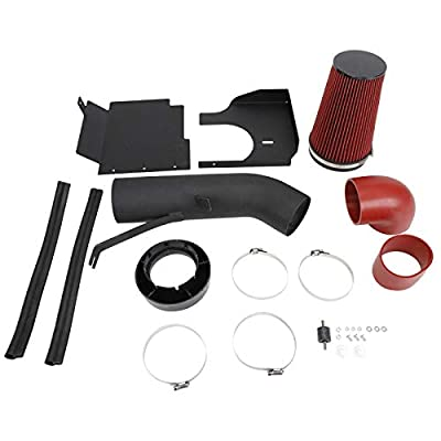 """SUPERFASTRACING 4"""" Cold Air Intake System + Heat Shield for 1999-2006 GMC/Chevy V8 4.8L/5.3L/6.0L Silverado 1500/2500/3500 (Black&Red): Automotive"""