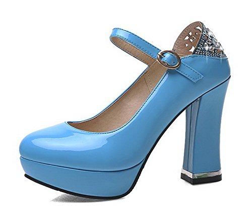 AllhqFashion Damen Eingelegt Hoher Absatz Rund Zehe Schnalle Pumps Schuhe Blau