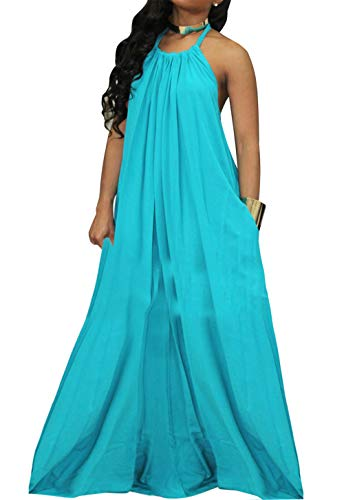 (HannahZone Women's Summer Sexy Casual Loose Backless Beach Long Maxi Dress with Pocket Sky Blue)