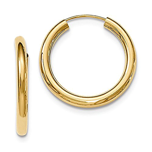 Medium 14K Yellow Gold Wide Thick Continuous Endless Hoop Earrings, (3mm Tube) ()