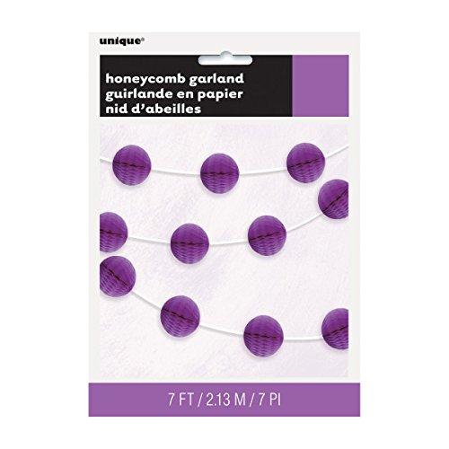 7ft Purple Honeycomb Ball Garland