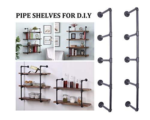 Five Tier Wall Unit - Articial Rustic Industrial Pipe Shelving Unit,DIY Industrial Pipe Wall Shelf,Metal Pipe Open Bookshelf,Black 5 Tiers