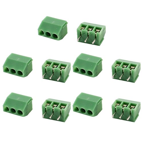 10 Pcs 3 Pins 3.5mm Pitch PCB Board Screw Terminal Blocks Green (3 Pin Terminal Block)