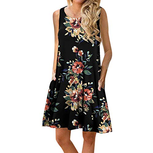 iYYVV Womens O Neck Casual Floral Print Sleeveless Above Knee Loose Party Mini Dress - Funeral Doll